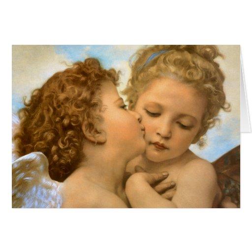 Primer beso por ángeles del navidad de Bouguereau Tarjeta De Felicitación