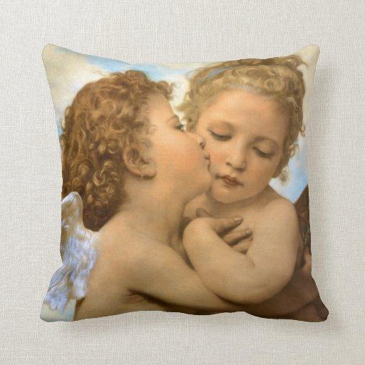 Primer beso por Bouguereau, ángeles del Victorian Almohadas