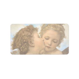 Primer beso por Bouguereau ángeles del Victorian Etiquetas De Dirección