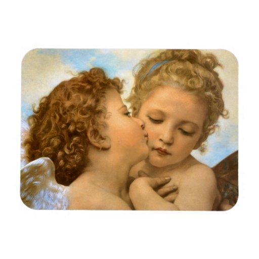 Primer beso por Bouguereau, ángeles del Victorian Imán Flexible