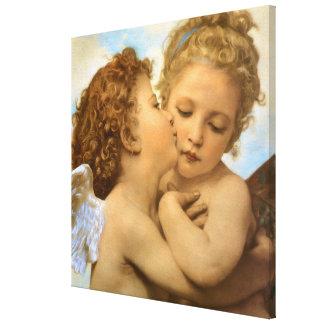 Primer beso por Bouguereau ángeles del Victorian Impresiones De Lienzo