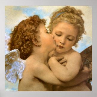 Primer beso por Bouguereau, ángeles del Victorian Impresiones