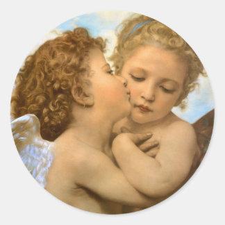 Primer beso por Bouguereau, ángeles del Victorian Pegatinas Redondas
