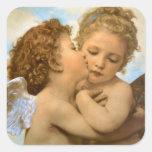 Primer beso por Bouguereau, ángeles del Victorian Pegatinas Cuadradases