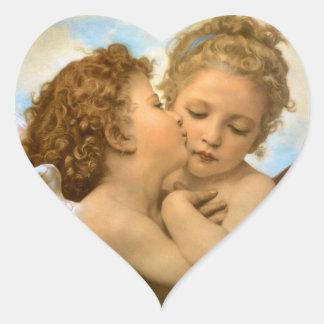 Primer beso por Bouguereau, ángeles del Victorian Pegatina En Forma De Corazón