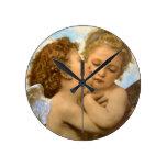 Primer beso por Bouguereau, ángeles del Victorian Relojes De Pared