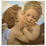 Primer beso por Bouguereau, ángeles del Victorian Servilleta Imprimida