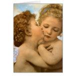 Primer beso por Bouguereau, ángeles del Victorian Tarjeta