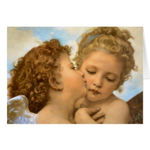 Primer beso por Bouguereau, ángeles del Victorian Tarjeta De Felicitación