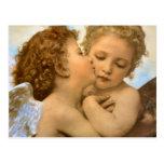 Primer beso por Bouguereau, ángeles del Victorian Postal