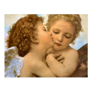 Primer beso por Bouguereau ángeles del Victorian Postal