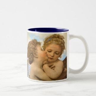 Primer beso por Bouguereau, ángeles del Victorian Taza De Café
