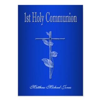 """Primer blanco azul de la comunión santa invitación 5"""" x 7"""""""