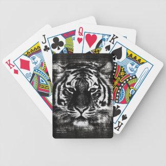 Primer blanco y negro 2 de la cara del tigre baraja de cartas