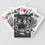 Primer blanco y negro 2 de la cara del tigre barajas de cartas
