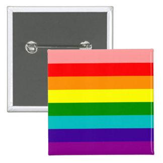 Primer botón de la bandera del orgullo gay del pin cuadrado