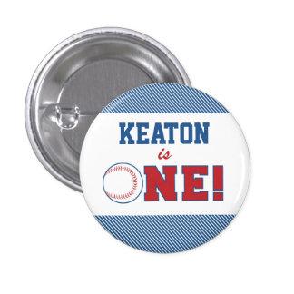 Primer botón del cumpleaños del béisbol pin redondo de 1 pulgada