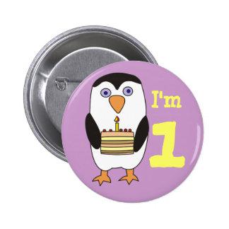 Primer botón del cumpleaños del pingüino lindo pins