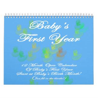 Primer calendario del azul del año del bebé