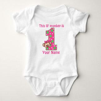 Primer camiseta personalizada del cumpleaños mono camisas