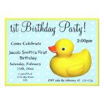 Primer caucho del cumpleaños Ducky Invitación 12,7 X 17,8 Cm