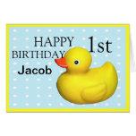 Primer caucho del cumpleaños Ducky Tarjeta Pequeña