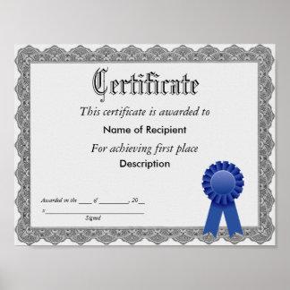 Primer certificado de Blue Ribbon del lugar Póster