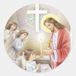 Primer chica de la comunión santa pegatina redonda