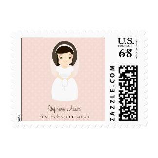 Primer chica del Brunette de la comunión santa Sello Postal