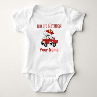 Primer coche de bomberos del cumpleaños body para bebé
