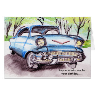 Primer coche tarjeta de felicitación