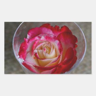 Primer color de rosa rosado en copa de vino pegatina rectangular