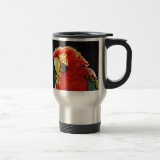 Primer con alas verde del pájaro del loro del Maca Taza De Café