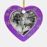 Primer corazón de la foto del navidad ornamentos de reyes