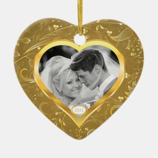Primer corazón del oro del ornamento de la foto ornamentos de reyes magos