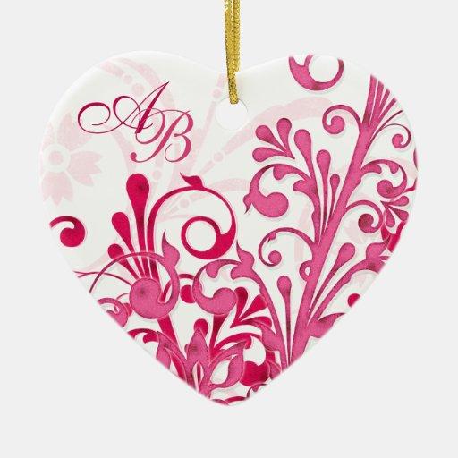 Primer corazón floral rosado del boda del navidad adorno navideño de cerámica en forma de corazón