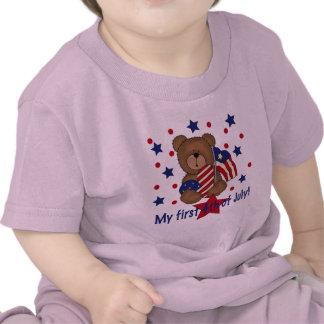 Primer cuarto del oso patriótico de julio camisetas