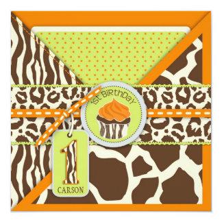Primer cumpleaños anaranjado del safari y de la invitación