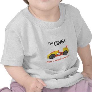 Primer cumpleaños coche de carreras texto divert camiseta
