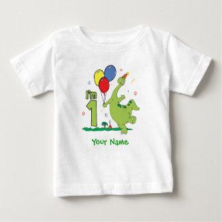 Primer cumpleaños de Dino personalizado Playera De Bebé