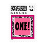 Primer cumpleaños de la cebra rosada y negra sellos