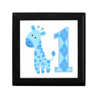 Primer cumpleaños de la jirafa azul joyero cuadrado pequeño