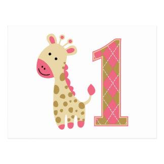 Primer cumpleaños de la jirafa rosada postal