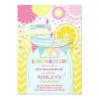 """Primer cumpleaños de la limonada de la sol rosada invitación 5"""" x 7"""""""
