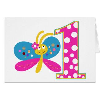 Primer cumpleaños de la mariposa femenina tarjeta de felicitación