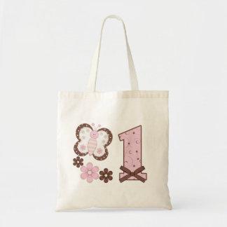 Primer cumpleaños de la mariposa rosada bolsa tela barata