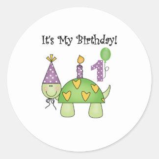 Primer cumpleaños de la tortuga etiqueta redonda