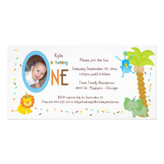 Primer cumpleaños de los animales caprichosos tarjeta personal