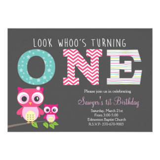 """Primer cumpleaños del búho - la mirada whoo está invitación 5"""" x 7"""""""