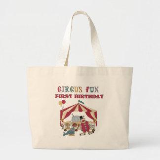 Primer cumpleaños del circo bolsa lienzo